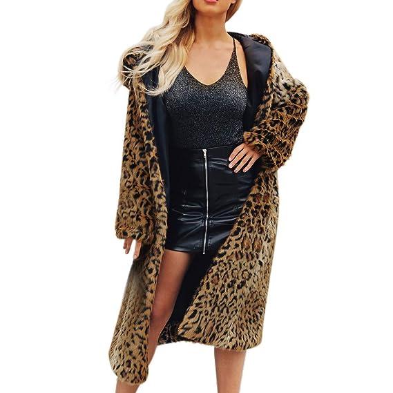Abrigos Mujer Invierno, Mujeres cálidas de Piel sintética Abrigo Chaqueta de Invierno Leopardo Encapuchado Parka Abrigos: Amazon.es: Ropa y accesorios