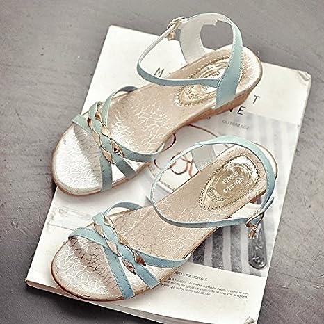 97f60903ac XY&GK Donna Sandali Tacco a cuneo sandali, Estate ragazza, fibbia, punta  nuda,