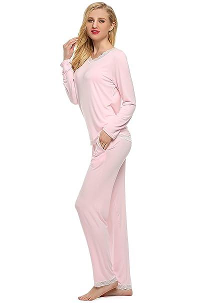 Ekouaer - Pijama - para mujer Rosa rosa Small: Amazon.es: Ropa y accesorios