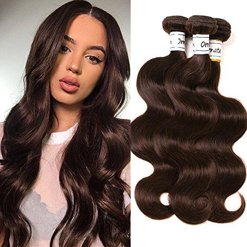 Ornate Hair Brazilian Body Wave Hair Bundles 8A virgin Brazilian Human Hair 3 Bundles Body Wave Hair Weaves Dark Brown Color #2 (14 16 18 Inch)