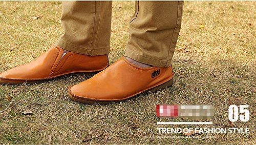 Happyshop (tm) Nouveau Réel En Cuir Occasionnel Slip-on Chaussures Daffaires Hommes Conduite Chaussures Mocassins Mocassins Orange