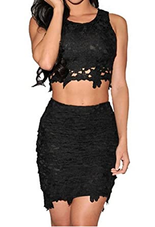 Amazon.com: Sexy Women's Floral Lace High-waisted Skirt Bodycon ...
