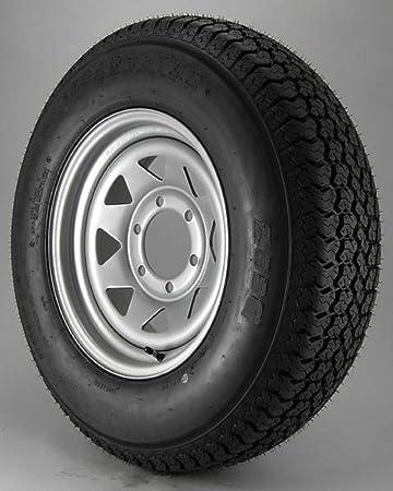 ST225//75D15 Loadstar Trailer Tire LRD on 6 Bolt White Spoke Wheel