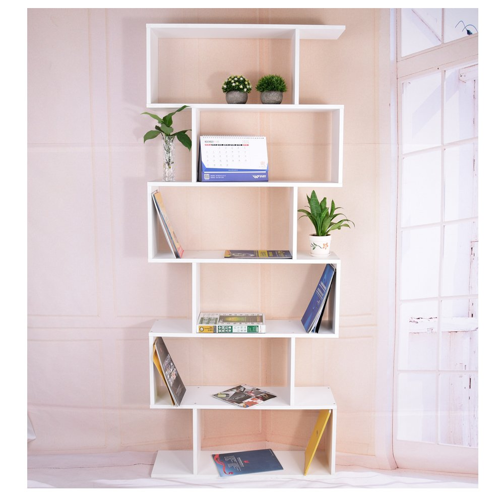 WEIBO Black Bookcase, 6 Tier Wooden Bookcase Wall Mounted Bookshelf for Home Office