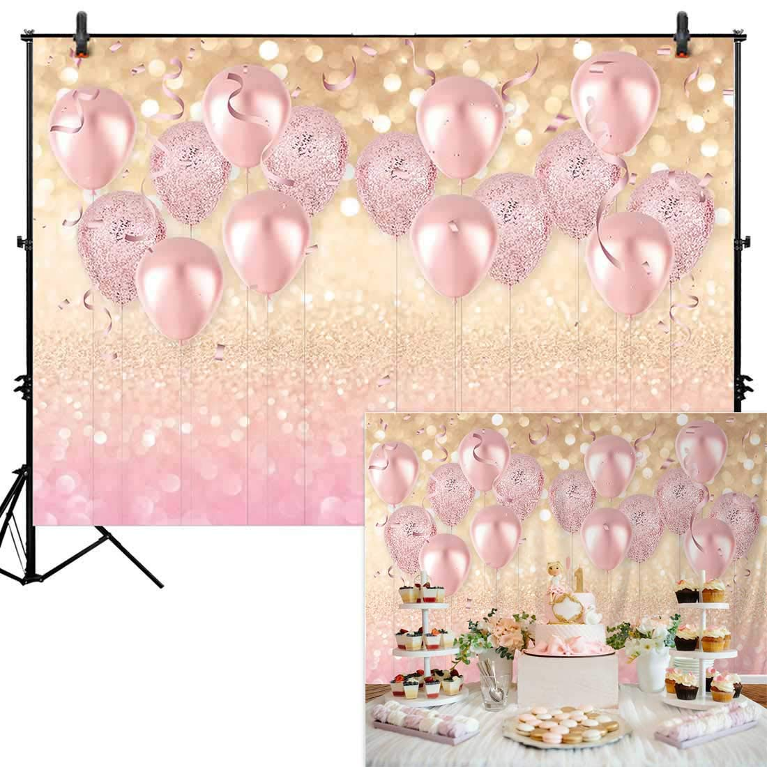 Allenjoy 7x5ft Durable Soft Fabric Rose Gold Party Decorations Supplies Pink Balloon Glittter Bokeh Photo Backdrop Birthday for Girl Baby Bridal Shower Bachelorette Photography Background Studio Props