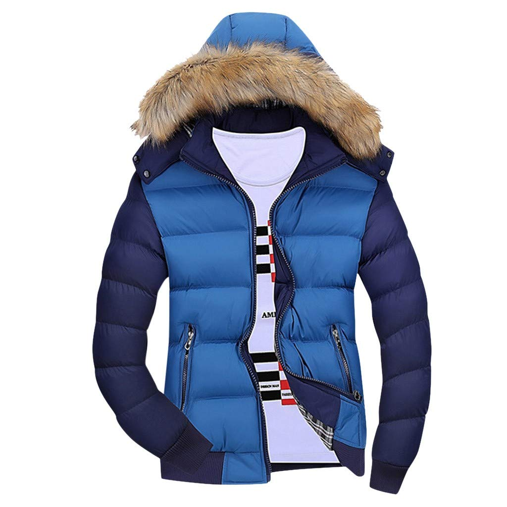 WINJUD Mens Coat Winter Warm Hooded Tracksuit Zipped Contrast Color Long Sleeve Outwear Blue by WINJUD