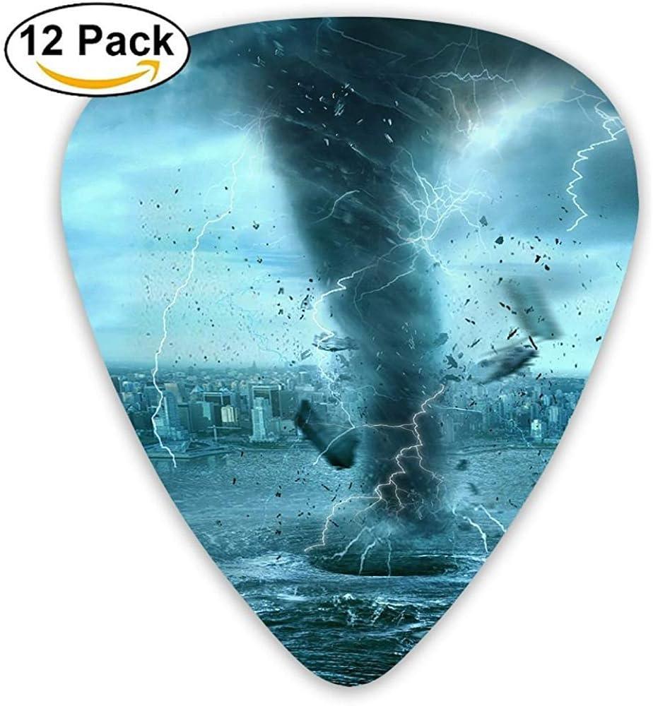 Paquete de 12 Elecciones de guitarra eléctrica clásica de moda Plectrums Weather Tornado Attack Instrumento de la ciudad Guitarrista bajo estándar