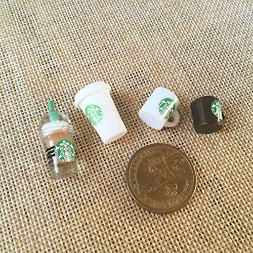 Miniature Sticker ICY Top Coffee Mocha Cups Dollhouse Food Accessories 4Pcs Set