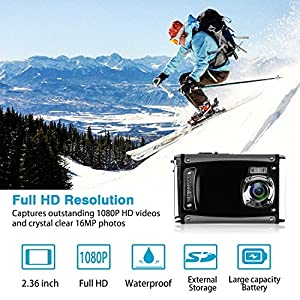 "DECOMEN Waterproof Digital Camera Underwater Sport Camcorder with 21MP 2.4"" LCD Screen,8x Digital Zoom, Flash, Mic and Rechargeable Battery with 16G SD Card from DECOMEN"