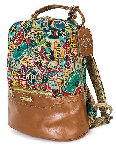 (ililily Vintage Multi-purpose Mickey Mouse Pattern Daypack Backpack Rucksack Bag, Multi-color)