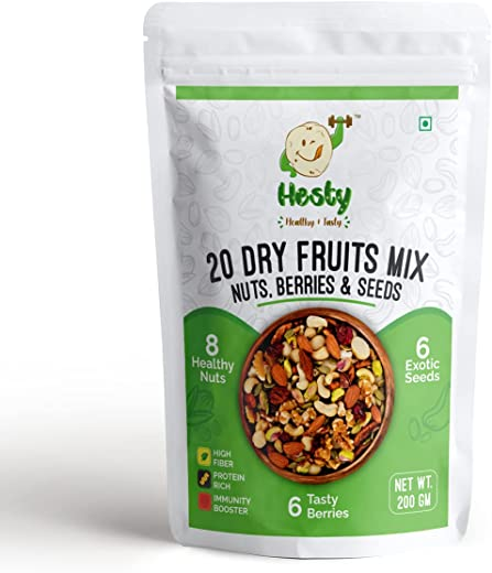 HESTY'S 20 BEST QUALITY ASSORTED DRYFRUITS AND SEEDS MIX! 200 gms! GLUTEN FREE & TRANSFAT FREE!