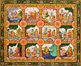 Scenes From The Ramayana - Water Color Painting on Patti - Folk Art From The Temple Town Puri (Oriss
