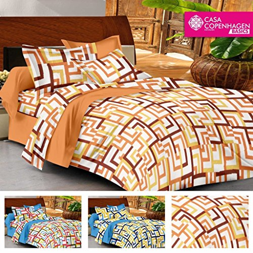 Casa Basics – Ezy Collection 144 TC Orange Checkred Cotton Double Bedsheet With 2 Pillow Covers