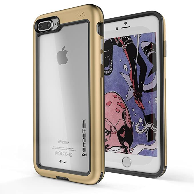 Ghostek Atomic Slim Clear Back Case Compatible With Iphone 8 Plus Iphone 7 Plus Gold