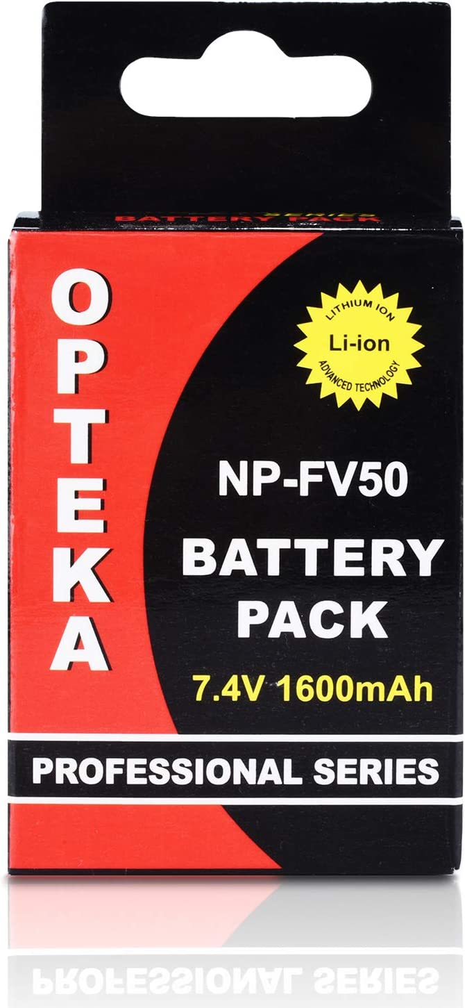 2-Pack CX760 CX580 /& Dual Charger CX900 CX675 SX45 Opteka NP-FV50 Battery SX63 PJ540 SX65 SX85 7.4V, 1600mAh AX33 AX100 AX53 CX560 PJ810 SX83 CX700 CX455 CX550 for Sony AX700