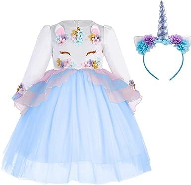 Kids Girls Birthday Party Dress Spliced Long Sleeve Round Neck Princess Dresses