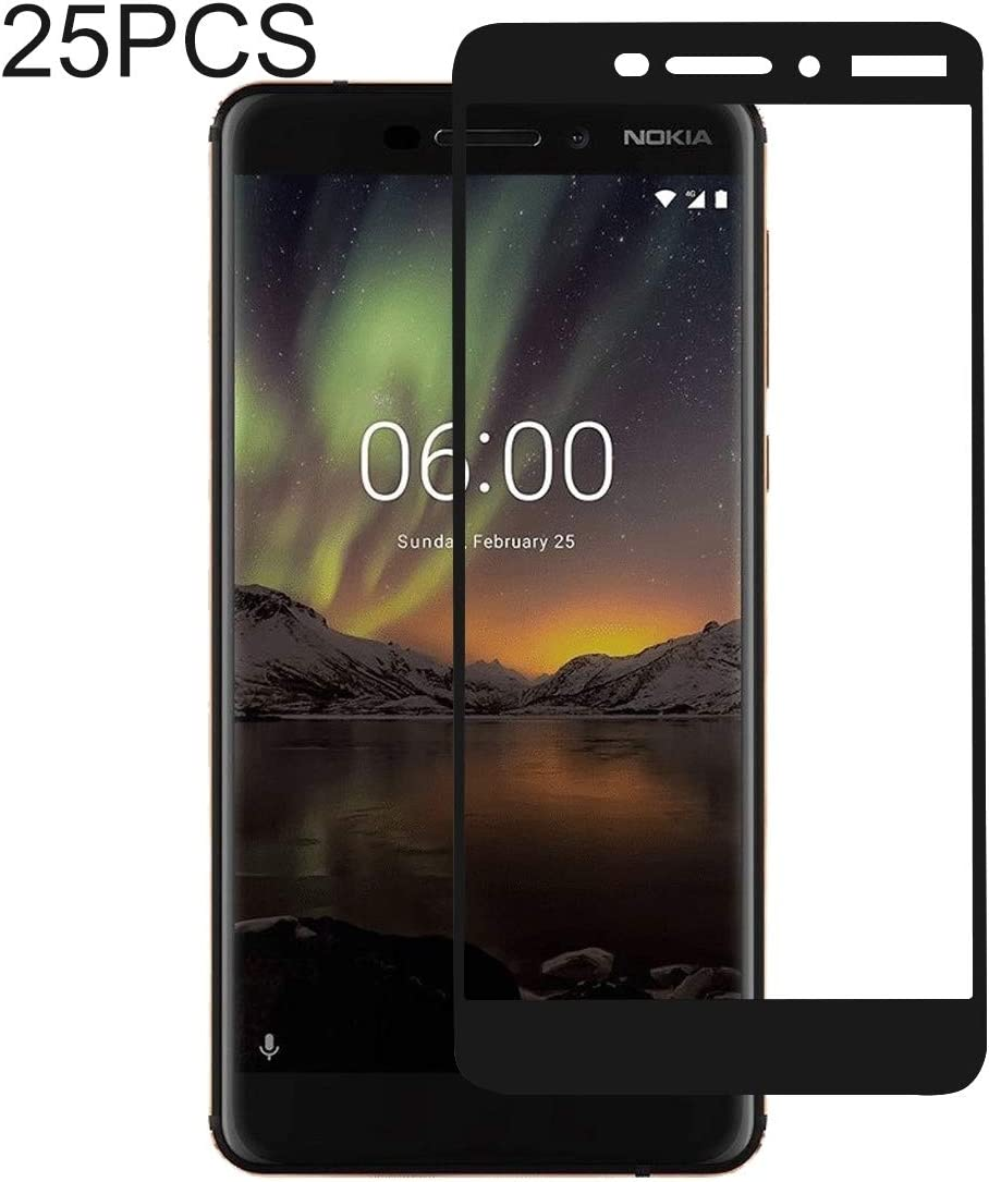// 6 2nd Gen 2018 LGYD for 25 PCS Full Glue Full Cover Screen Protector Tempered Glass Film for Nokia 6.1//6