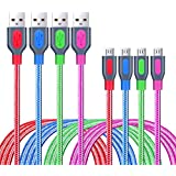 Android Charger Cable, Besgoods 4-Pack Colors 6ft Braided Micro USB Cable Fast Charger USB 2.0 to Micro USB Charging Cable Compatible Android, Samsung, HTC, LG, Nexus - Red Blue Green Rose
