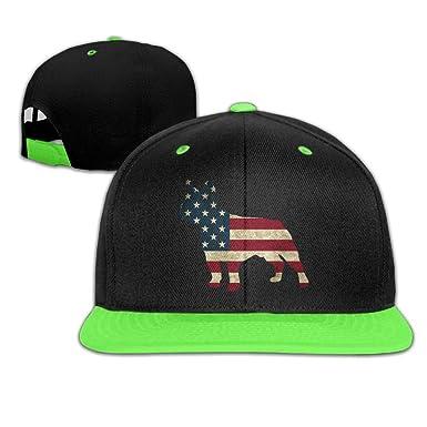 64546SF Youth Girls USA Flag French Bulldog Baseball Caps Trucker Flat Brim  Cap 479ada24b3a