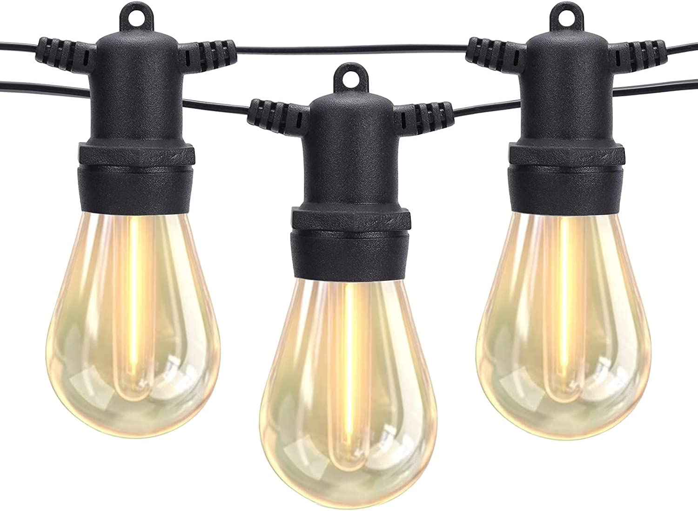 DGE Outdoor LED String Lights 48FT Patio String Light Shatterproof & Waterproof IP65, Décor for Patio, Backyard, Gazebo, Porch, Soft White Light