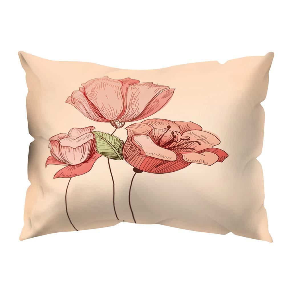 XXYsm Cotton Blend Pillowcase-Travel Size N Floral Print Pillowcover Long Staple Pillowcases Cashion Cover Lumbar Pillow for Travel Sofa Bed Chair Home Decoration 30X50CM