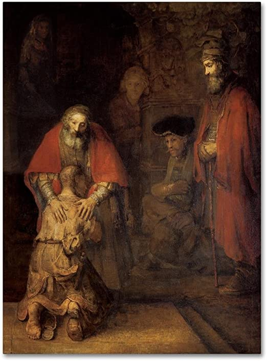 Amazon Com Return Of The Prodigal Son By Rembrandt 18x24 Inch Canvas Wall Art Home Kitchen