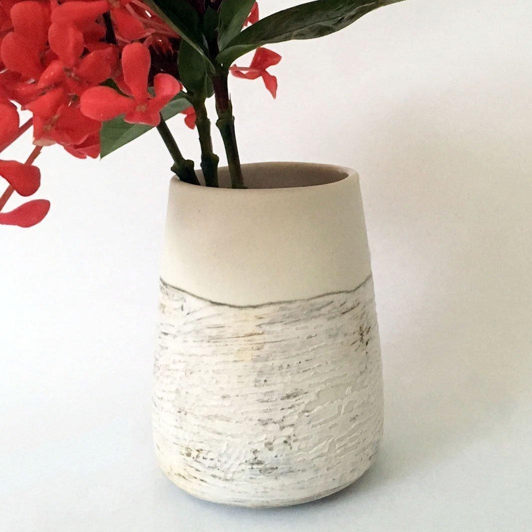 Contemporary Handmade Vase, White Porcelain Pottery