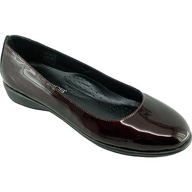 46b6aa7c22b935 Dance Vernis Ballerine Souple Et Flexible Chaussures Femme Confortable Pieds  Sensibles Marque Aéro Cuir Bordeaux -