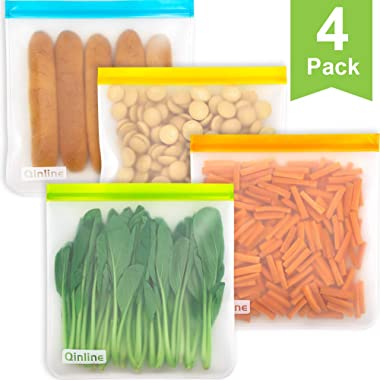 Reusable Gallon Freezer Bags - 4 Packs 1 Gallon Ziplock Bags, LEAKPROOF EXTRA THICK Gallon Storage Bags for Marinate Meats, Fruit, Cereal, Sandwich, Snack, Travel Items, Meal Prep, Home Organization