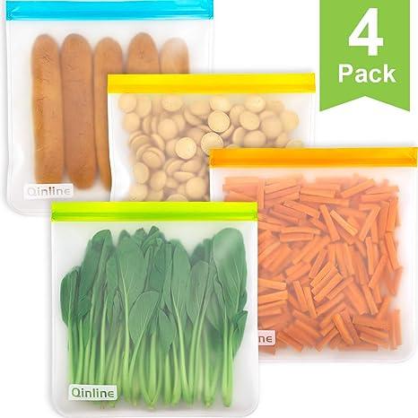 Amazon.com: Bolsas reutilizables para congelador, 4 paquetes ...