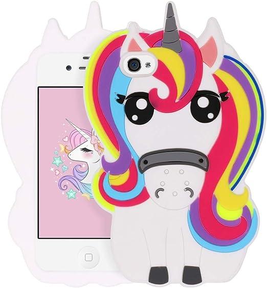 BEFOSSON for iPhone 4 Case Unicorn, iPhone 4S Case Unicorn, Cute 3D Cartoon Unicorn Funny Kawaii Horse Animal Soft Silicone Rubber Phone Cover Case ...