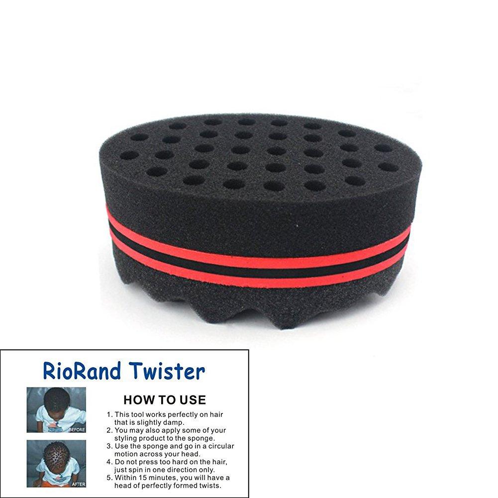 RioRand Magic Barber Sponge Twist Hair Brush for Afros, Coils, Dreadlocks Hair Styling TWO IN ONE(8mm Hole Diameter)