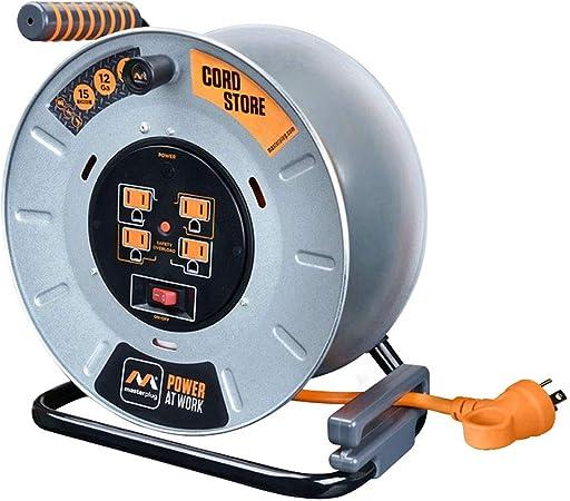 Masterplug électrique Cordon Stockage Bobine avec 4 120 V 10 Amp Prise