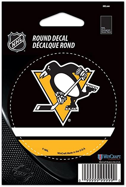 WinCraft NHL Pittsburgh Penguins WCR66214091 Round Vinyl Decal 3 x 3 Black