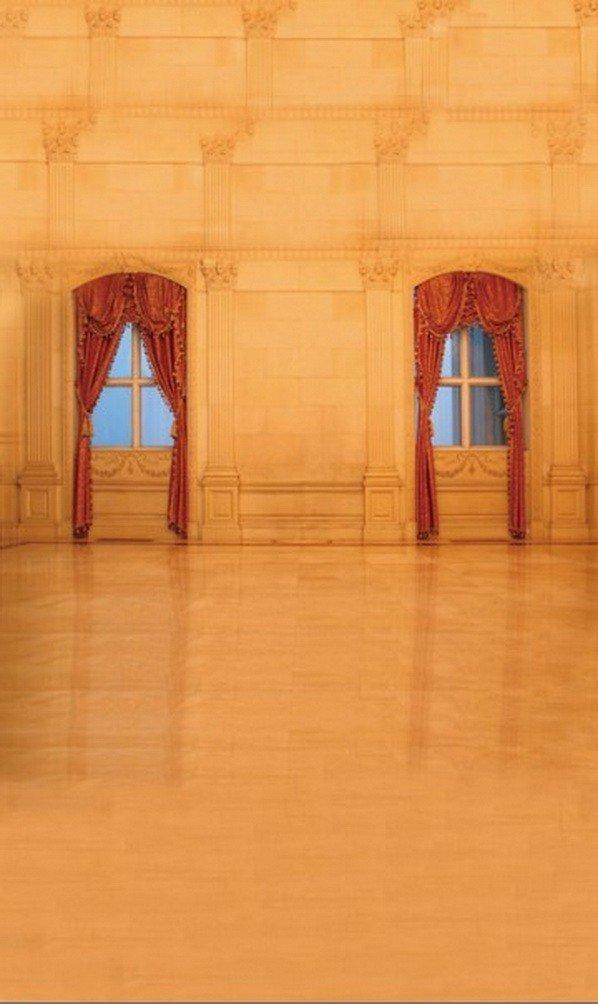 A Monamourブラウン木製ソリッド壁床ドアHallインドアウェディングシーンStudio小道具写真の背景幕   B01J86JPMA
