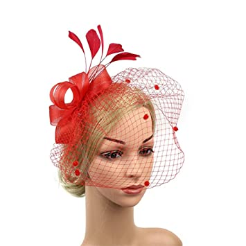 19a9491e Amazon.com : MOWANG Fascinator Hat Bridal Headpieces and Feather Net Hair  Clips Cocktail Party Hat (red) : Beauty