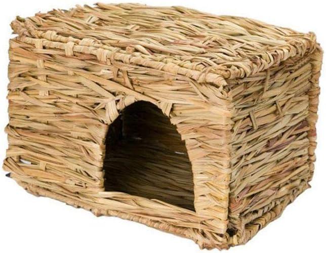 Kinberry Casa de pajita natural para mascotas pequeños animales nido de hierba transpirable plegable tejida a mano Cabaña Stealth masticar juguetes para hámsteres, cerdos, conejos y loros