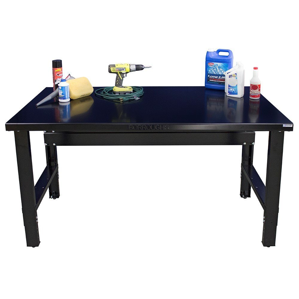 Borroughs 2018-WB102-EC Workbench with Painted Top, 28 x 60 In, 2000 Pounds Load Capacity, 36'' Height, 28'' width, 60'' Length, black