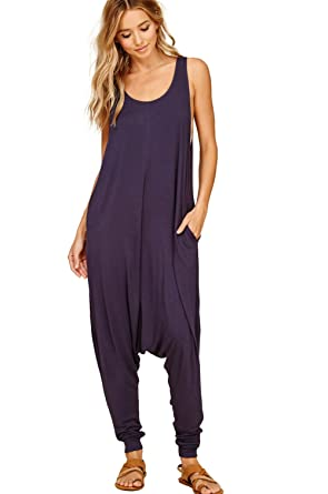 b281ed19351 Annabelle Women s Comfy Rayon Solid Color Sleeveless Harem Jumpsuits Slate  X-Large JC6009X