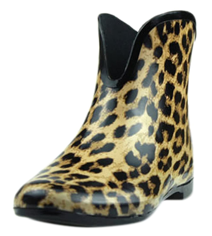 Ace Women's Girls Leopard Waterproof Pull-on Work Fashion Rain Boot