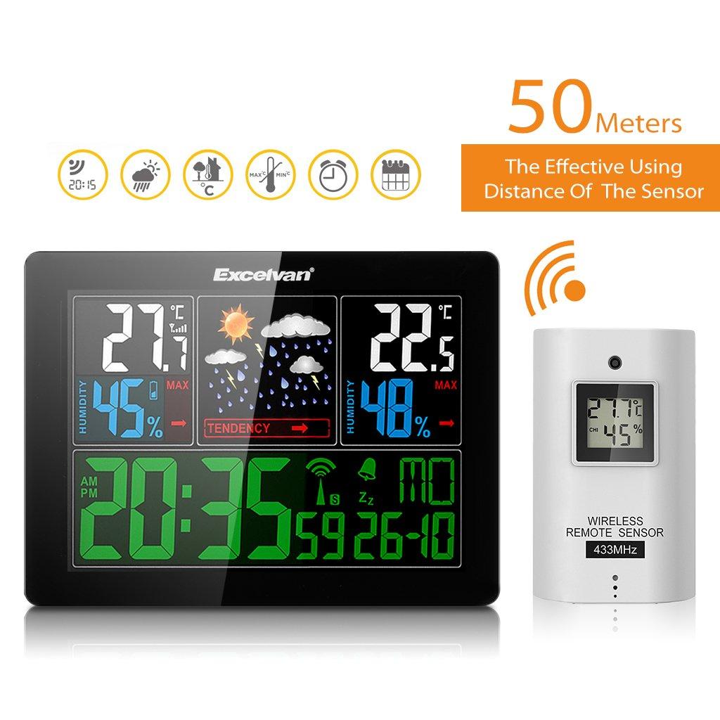 Barom/ètre avec Alarme Excelvan Horloges Stations M/ét/éo avec /Écran LED Int/érieure//Ext/érieure Sans Fil avec Capteur ext/érieur