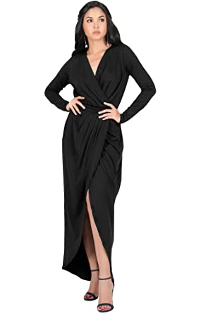 b35979860776 KOH KOH Petite Womens Long Sleeve Full Length V-Neck Sexy Wrap Empire Waist  Formal