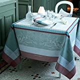Garnier-Thiebaut, Amours Brume French Woven Tablecloth, 100% Cotton Damask, Green Sweet Treated, 69'' x 69''