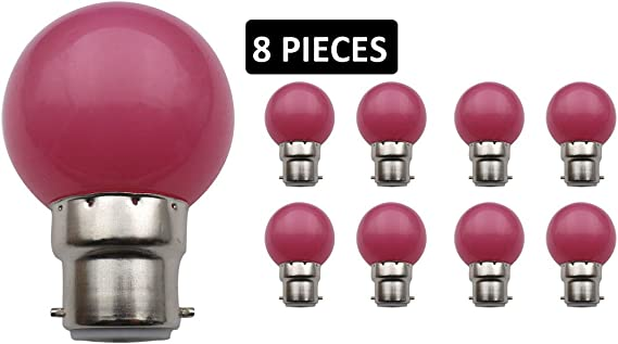 jcking (Paquete con 8) B22d pelota de golf cerveza jardín iluminación lámpara coloreado bombillas para terraza Fiesta Navidad – Color Rosa: Amazon.es: Iluminación