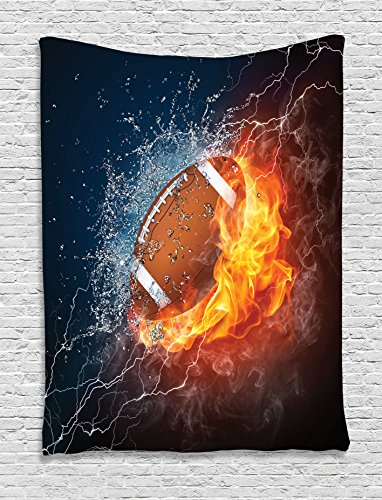 (Ambesonne Sports Decor Collection, Football on Fire and Water Flame Splashing Thunder Lightning Abstract Print, Bedroom Living Room Dorm Wall Hanging Tapestry, Navy Orange Peru)