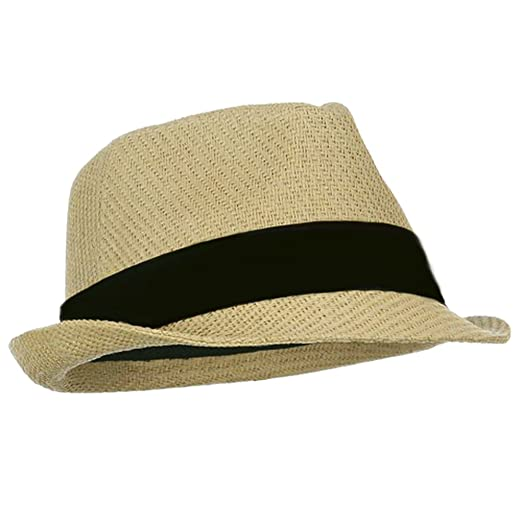 04d40bd6343 Natural Tan Straw Fedora Hat with Black Band at Amazon Women s ...