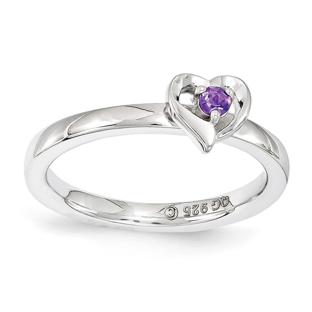 Top 10 Jewelry Gift Sterling Silver Stackable Expressions Amethyst Heart Ring