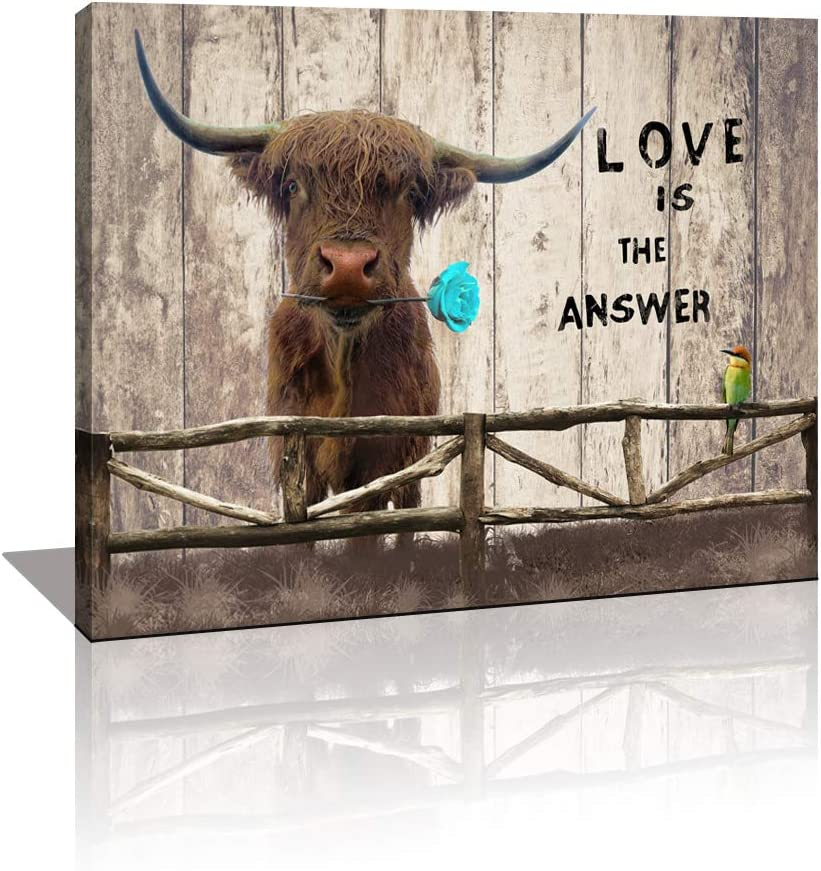 KuyiArt Cute Highland Cow Wall Art Décor Inspirational Motto Canvas Prints Framed Animal Picture Photo Artwork for Kitchen Living Room Bathroom Bedroom Decoration
