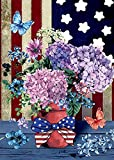 Morigins Patriotic Pansies 28 x 40 Inch Decorative Floral America Summer House Flag