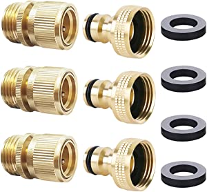 HQMPC Garden Hose Quick Connector ¾ inch GHT Brass Easy Connect Fitting (3SETS)